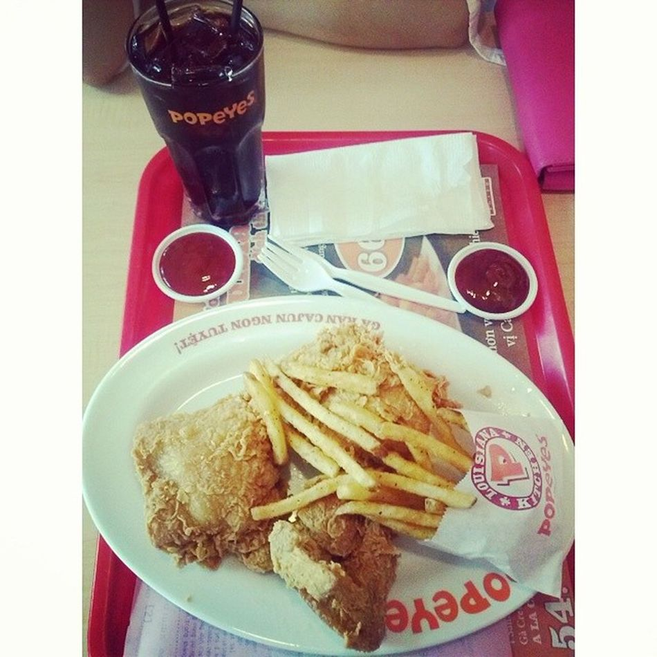 Lunch lunch lunch Popeyes Fried Chicken Chips withconHeo PâuHeo