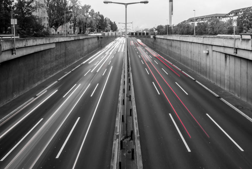 Architecture Autobahn Blurred Motion Bridge - Man Made Structure Car Colorkey Day Highway Horizontal Illuminated Keycolor Long Exposure No People Outdoors Red Road Sky Speed Stadtautobahn Traffic Transportation Krull&Krull Images Colorkey
