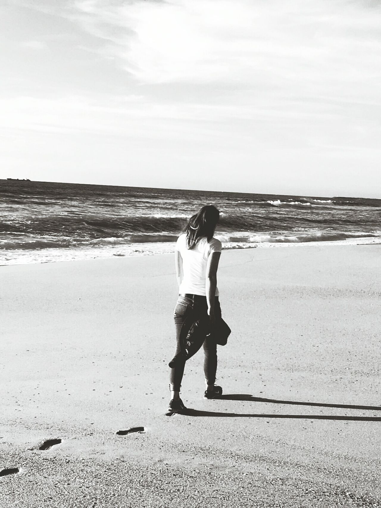 Choose your path... Sea Beach One Young Woman Only Outdoors Water Lifestyles Be Happy And Enjoy The Little Things Enjoying The Moment Full Length Horizon Over Water One Person Adults Only Sand Cloud - Sky Wave Sky EyeEmNewHere EyeEm Blackandwhite