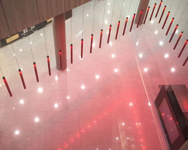 Indoors  No People Architecture Red Illuminated Lights Lights And Shadows In A Row Interior Design Office Building Office Upview Buildingstructure Built Structure Millennial Pink