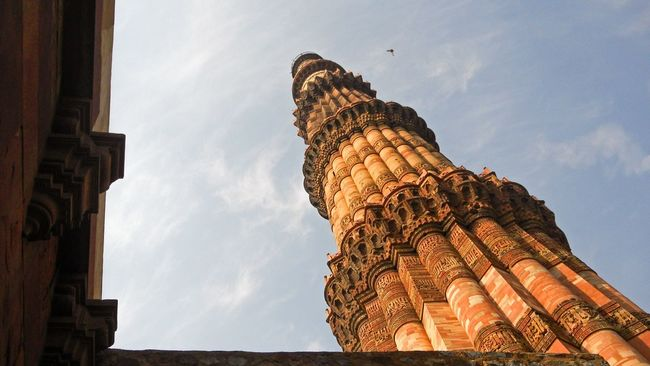 History standing tall and high framed. Architectural Feature Architecture Cloud - Sky Framed History Landmark Low Angle View Monuments Of India Monuments Of The World National Landmark Qutub Minar Qutub Minar, New Delhi Tall Tower UNESCO World Heritage Site