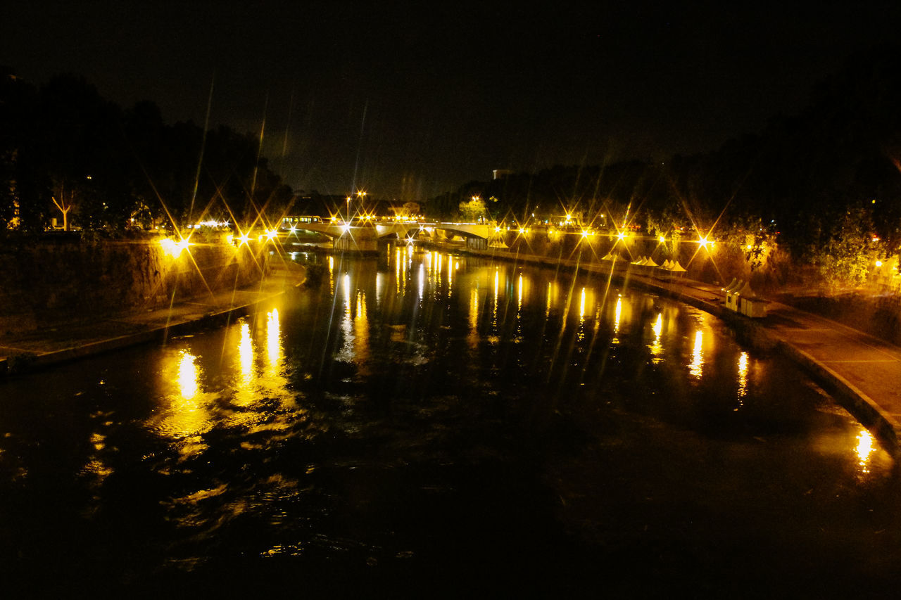 Beauty In Nature Calm Dark Illuminated Lighting Equipment Nature Night No People Non-urban Scene Reflection River Riverbank Rome Rome By Night Scenics Sky Street Light Tiber Tourism Tranquil Scene Tranquility Water Waterfront