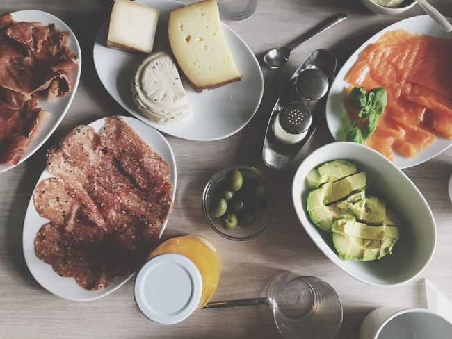 Directly Above High Angle View Table Food Food And Drink Plate Bowl Breakfast Indoors  Meat Healthy Eating Bread No People Ready-to-eat Horizontal Freshness Day