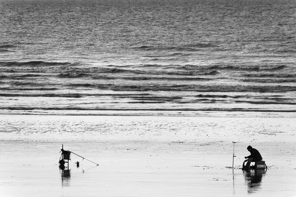 Fishing Time Art Is Everywhere Beach Beauty In Nature Black And White Blackandwhite Break The Mold Bw EyeEm Best Shots - Black + White Fisherman Fishing Fishing Pole Hobby Nature Reflection Reflections Scenics Sea Silence Silhouette Silhouettes TCPM Unrecognizable Person Water