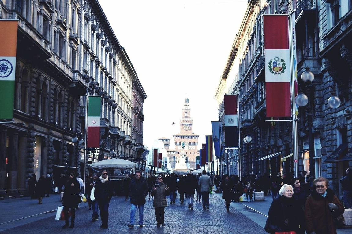 Building Exterior Architecture Built Structure City Walking Large Group Of People Street City Life Person Road Men Group Of People Sky Full Length Tall - High Clear Sky City Street Crowd Travel Destinations Day Milano Milan Castle Outdoors