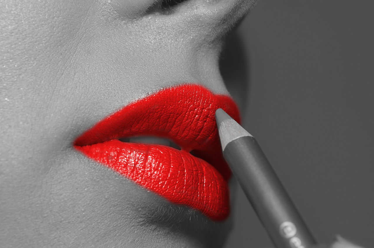Close-up Comfortable Contemplation Fashion Femininity Human Body Part Individuality Indoors  Lifestyles Lips Marcokleinphotography Red Women