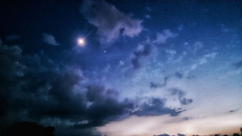 Storm Moon Clouds Nightscape