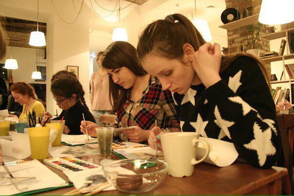 Just Drawing something) look so serious) Painting Lesson Aquarell Paints Chilling Resting Time