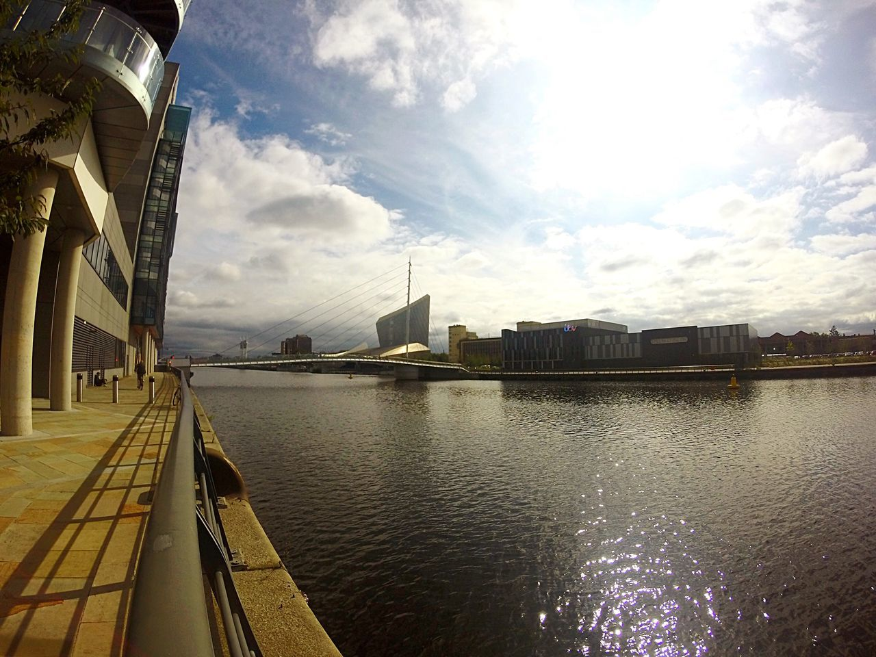 MediaCityUK, Manchester. Architecture Built Structure Building Exterior Water City Sky Cloud Mid Distance Railing Sea Engineering Day Ocean Waterfront The Way Forward Outdoors Pedestrian Walkway City Life Suspension Bridge Bridge Salford