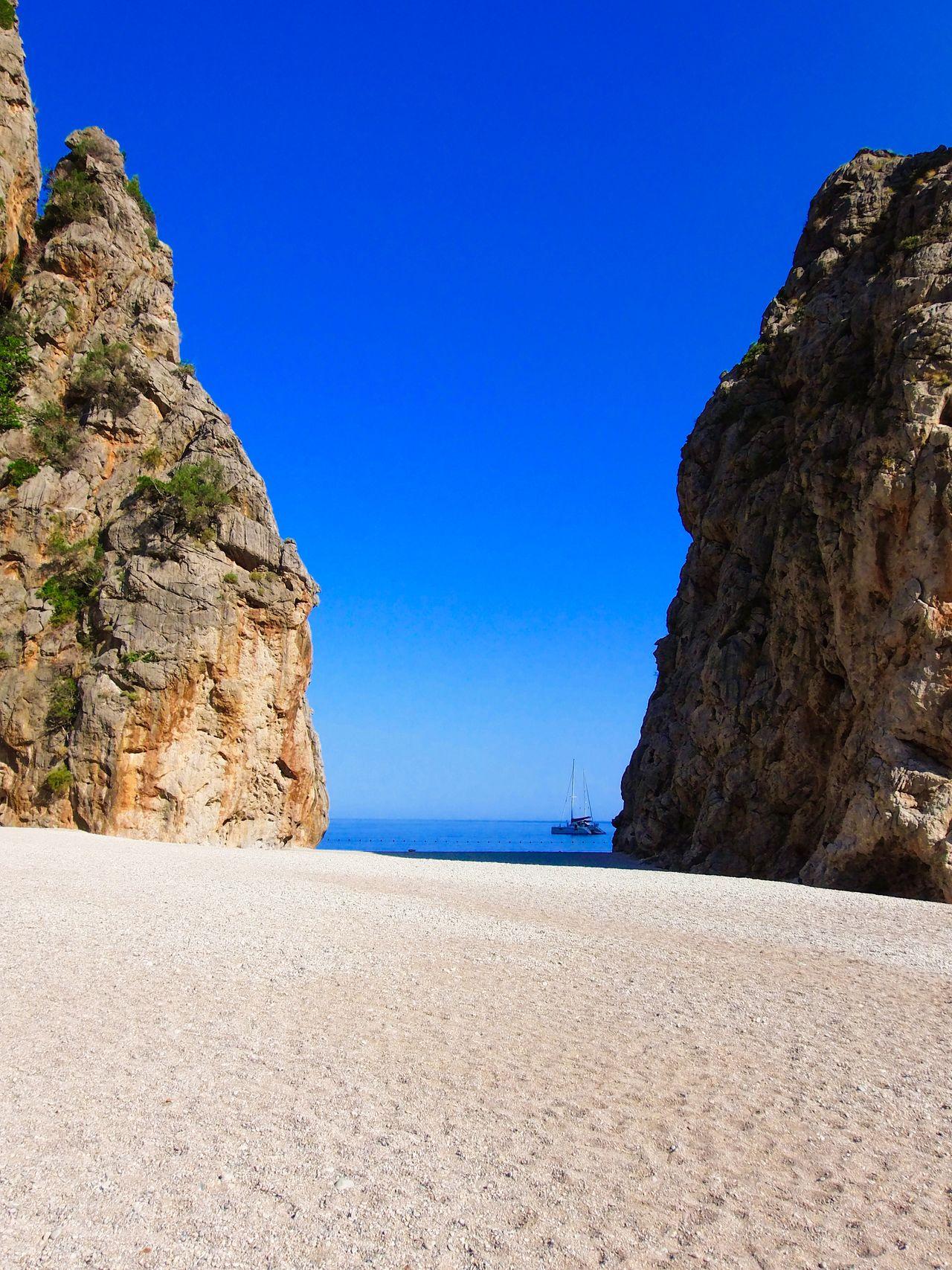 Sa Calobra SaCalobra , Cliffs Beach Sea Boat . Illes Balears Mallorca