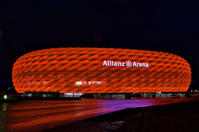 Text Outdoors Dark No People Tourism Arena München Munich Germany HDR Red