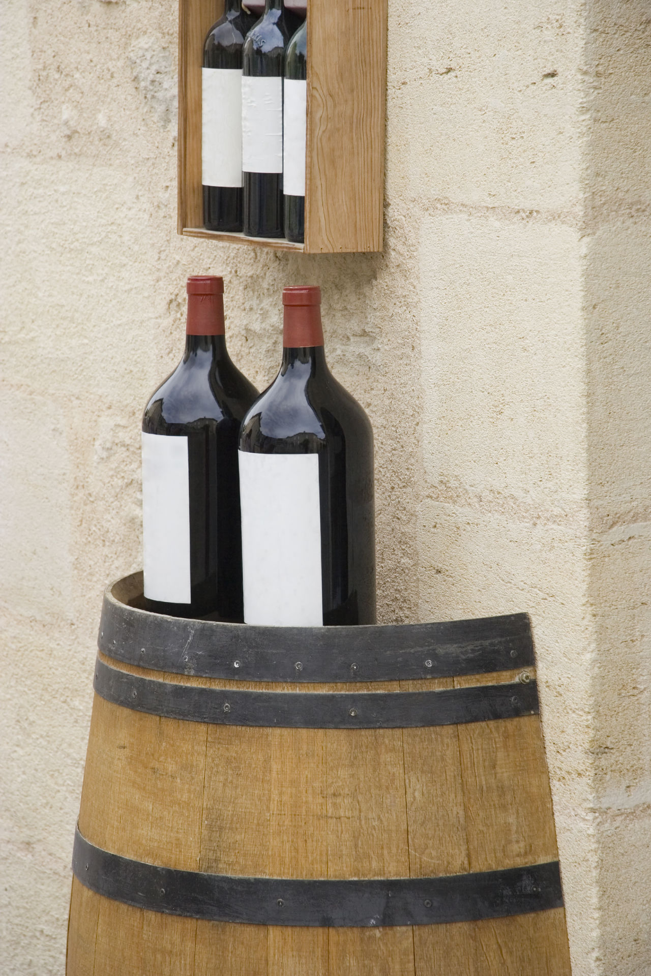 3 l wine bottles on a wine cask - saint-emilion, france Alcohol BIG Blank Label Bordeaux Château Drink For Sale France Grand Cru Merlot No People Outdoors Rack Red Wine Retail  Saint-Emilion Store Storefront Wine Wine Barrels Wine Bottle Wine Bottles Wine Moments Winemaking Winery
