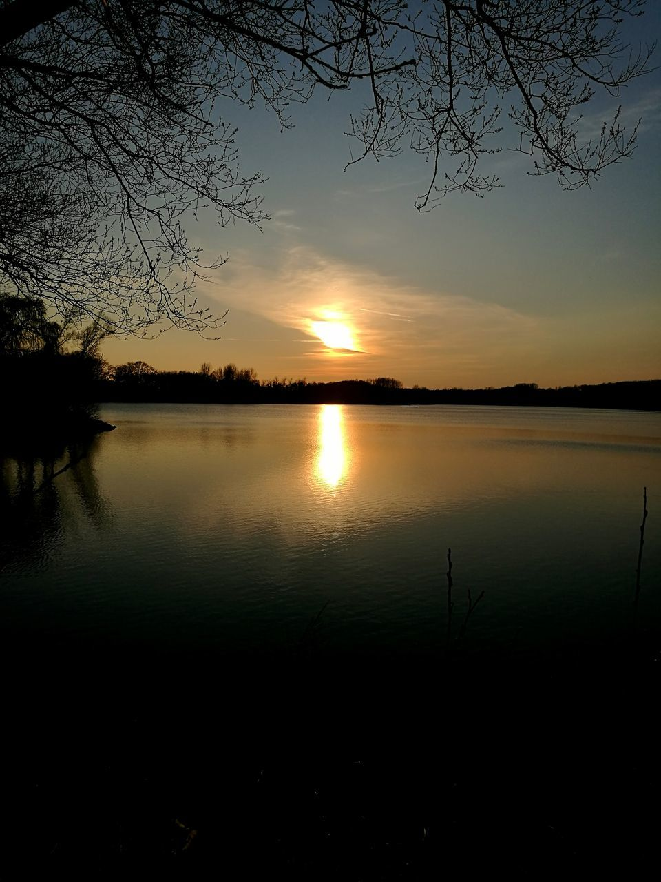 sunset, silhouette, beauty in nature, nature, reflection, scenics, tranquil scene, tranquility, water, lake, tree, sky, no people, outdoors