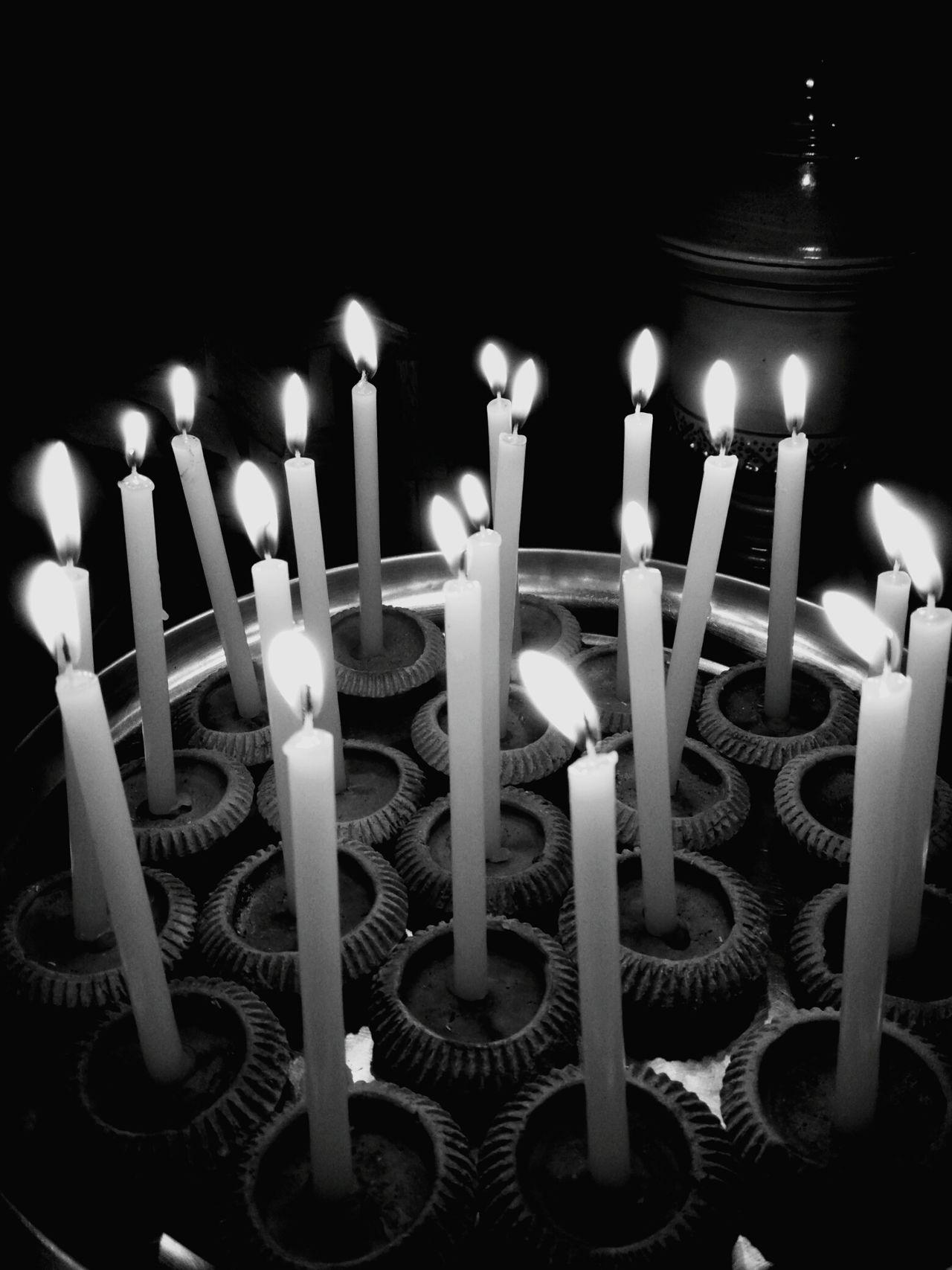 Black &White Candle Burning Flame Illuminated Celebration Birthday Candles Sweet Food Indulgence Birthday Cake Birthday No People Indoors  Yellow Heat - Temperature Life Events Close-up Food Night Freshness