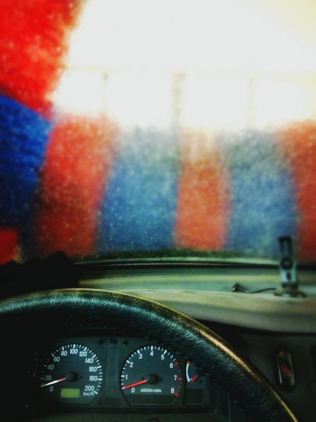 Car Interior Vehicle Interior Dashboard No People Technology Speedometer Close-up Window View Car Washing Red And Blue Steering Wheel Transportation In Car Selective Focus Brush Gauge Meters