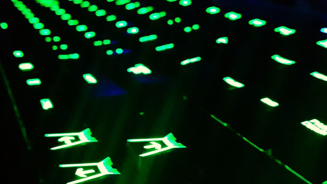 Technology Green Color Illuminated No People Close-up Night Indoors  Keyboard Keyboards Keyboard Light Lights Green