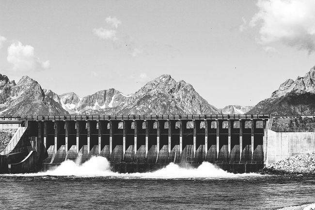 Man vs Nature... (The best dam view ;) ) Creative Light And Shadow Dam Blackandwhite Black And White Black & White Deceptively Simple Mountains Nature Landscape Lines