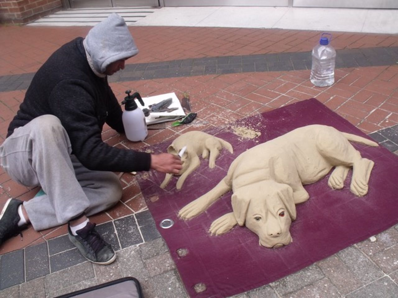 Street Artist dogs made of sand Working On This For Hours Concentration