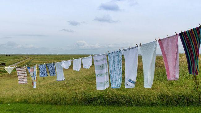 Laundry Laundry Day To Wash Towels Underwear Hanging Grass Textile No People Hallig Hallig Oland Schleswig-Holstein Germany Sky