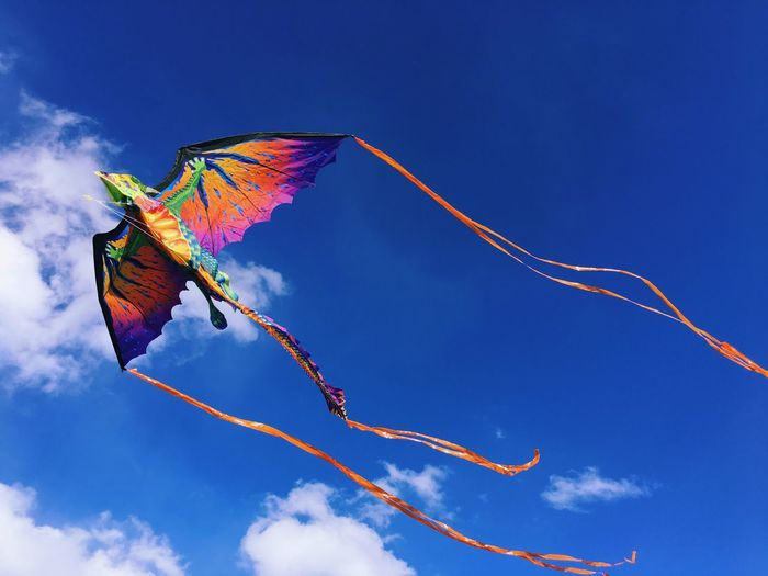 😎😏😆☺️🙂👍✨ 冬晴れ 青空 カラフル 凧揚げ 凧 カイト 恐竜 Sky Blue Colorful Color Kite Kite Flying Dinosaur IPhone Photography