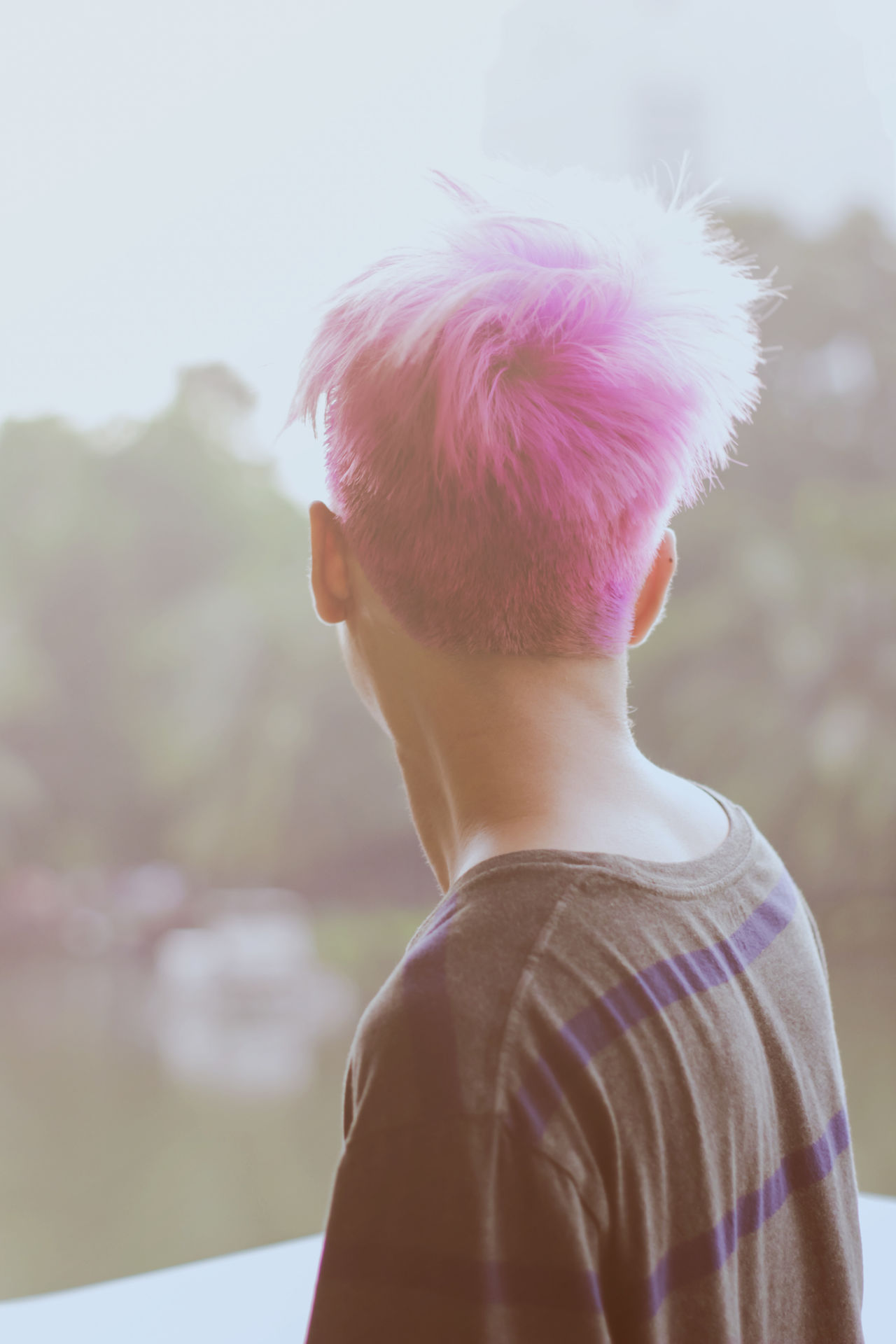 Pink hairstyle Day Fashion Hair Haircolor Hairstyle Headshot Lifestyles Men Millennial Pink One Man Only One Person Outdoors People Pink Street Style Teenager Young Adult