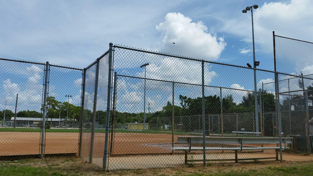 Beautiful stock photos of baseball, Absence, Baseball - Sport, Chainlink Fence, Cloud - Sky