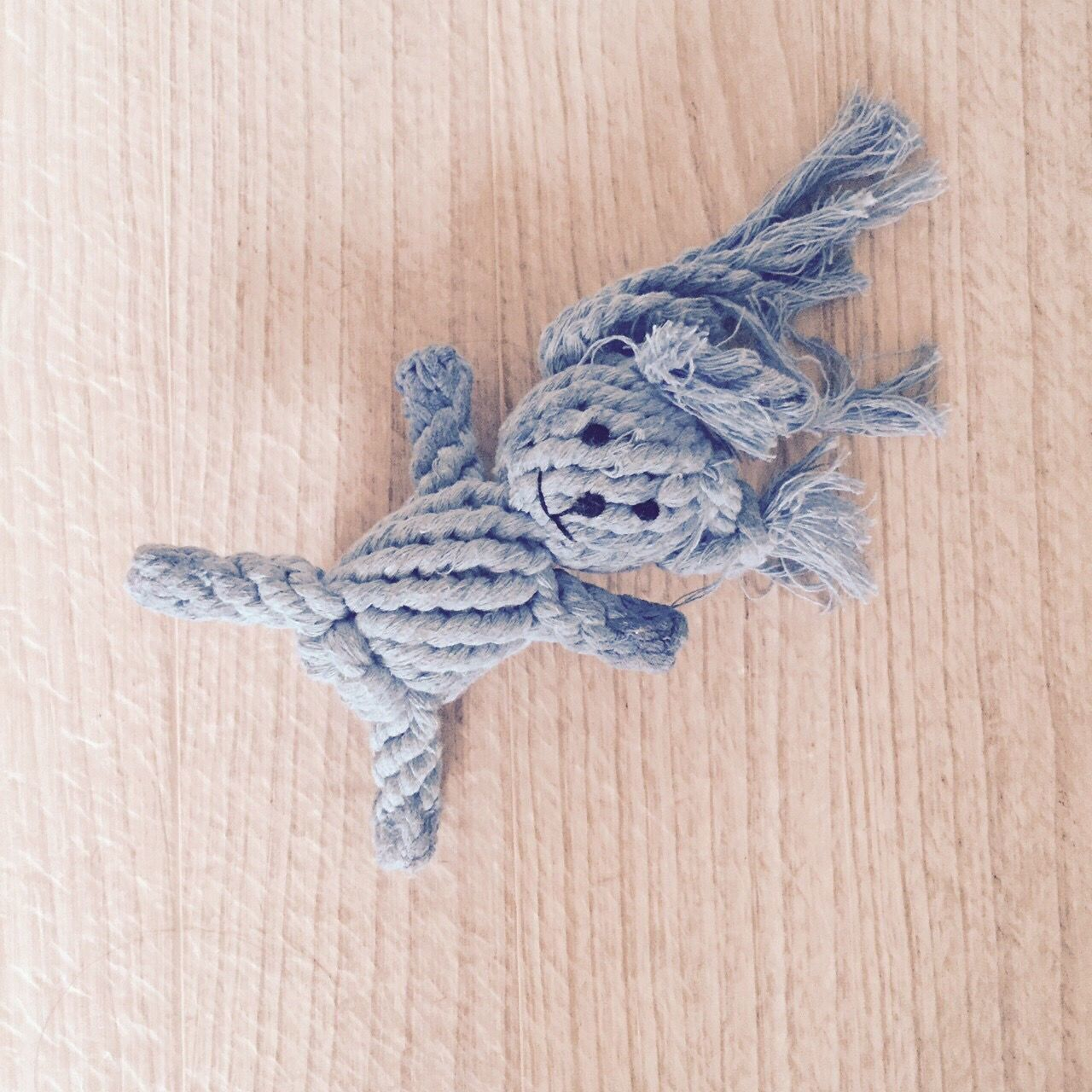 Directly Above Shot Of Knitted Teddy Bear On Table