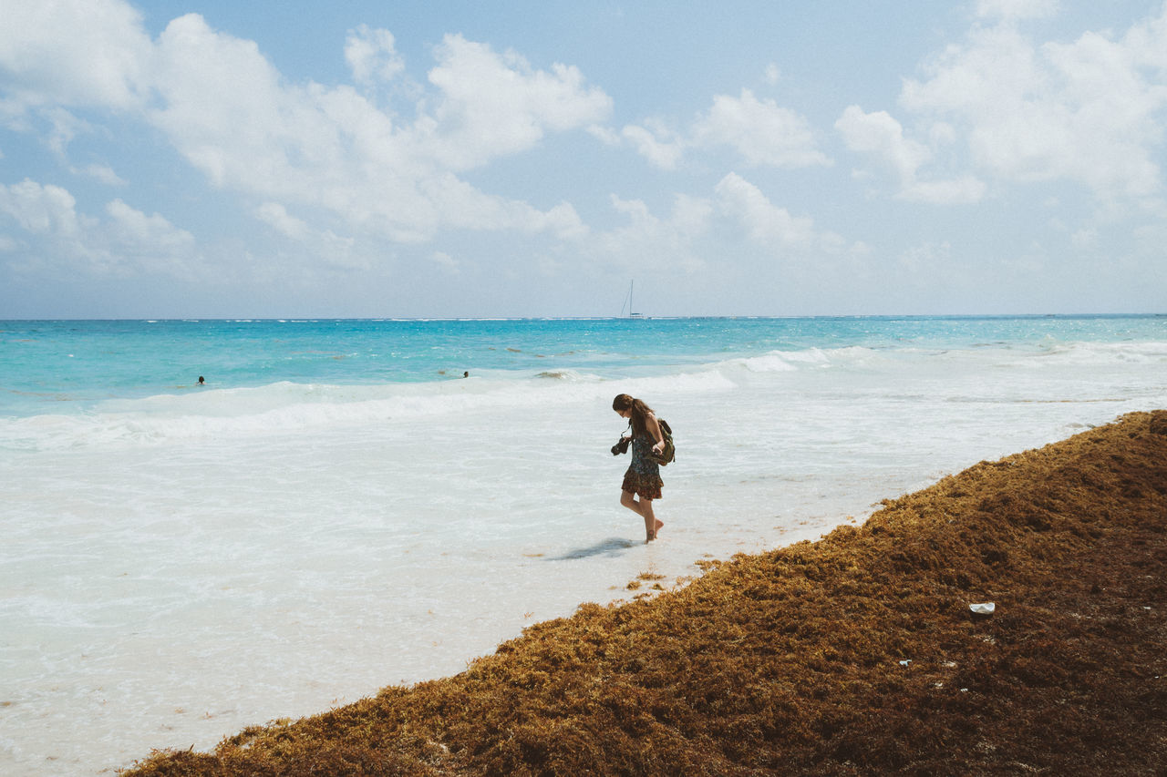 Beach Beauty In Nature Blue Water Enjoyment Fun Leisure Activity Lifestyles Moments Nature Outdoors Portrait Portrait Of A Woman Scenics Sea Summer Tide Tranquil Scene Tranquility Traveling Vacations VSCO Walking Water