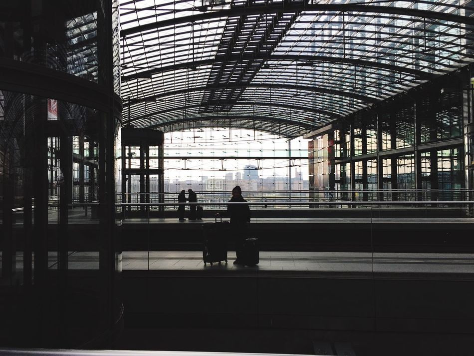 Bye for now Berlin. Transportation Travel Real People Lifestyles Men Railroad Station Platform Full Length Railroad Station Journey Built Structure Indoors  Passenger Two People Women Public Transportation Architecture Day People Adults Only Adult