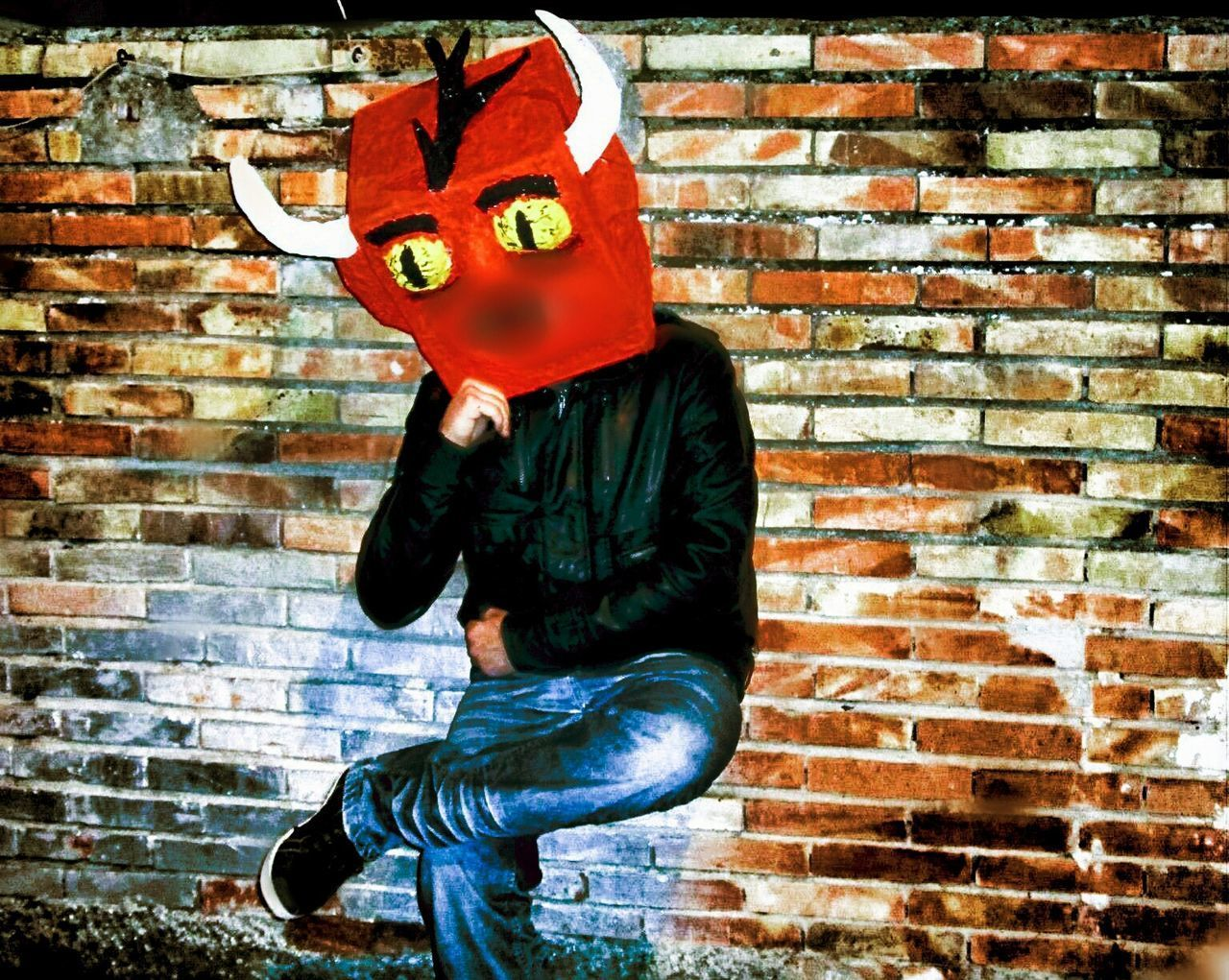 brick wall, mask - disguise, one person, casual clothing, disguise, full length, red, real people, day, outdoors, one man only, halloween, people, adult, only men, adults only