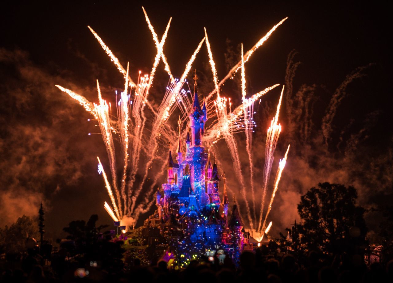 Party Hardy. Celebration Night Firework Display Illuminated Low Angle View Exploding Event Long Exposure Fireworks Disneyland Paris Disneyland Disney DisneyCastle Disney Castle Castle Nightphotography Night Lights Paris The Show Must Go On Theme Park Outdoors Sky Multi Colored Motion Firework