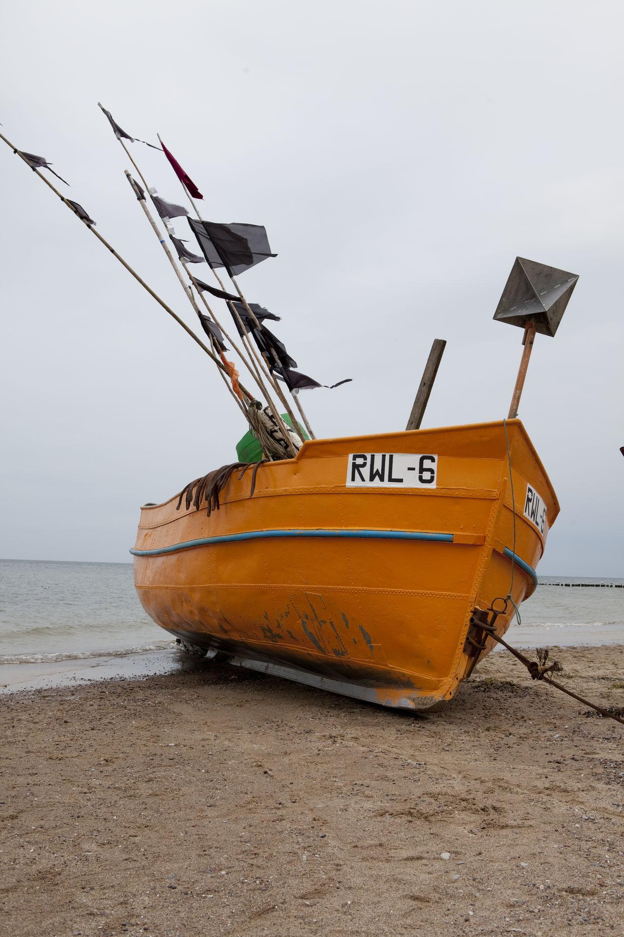Baltic Sea Beach Boat Fishermen Fishing Boats Orange Sky Water