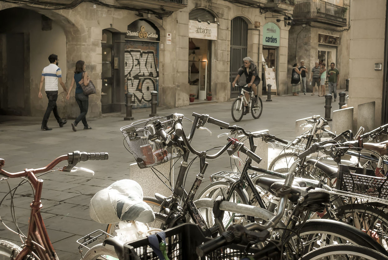 Parked bicycles in the old downtown of Barcelona City Barcelona City Barcelona's Downtown Barri El Born Bicycle Culture Cycling Day Downtown Ecological Ecological Transports Historic Land Vehicle Mode Of Transport Parked Parking Riding Side View Street Transportation Urban Life Urban Lifestyle Urbanexploration Urbanphotography