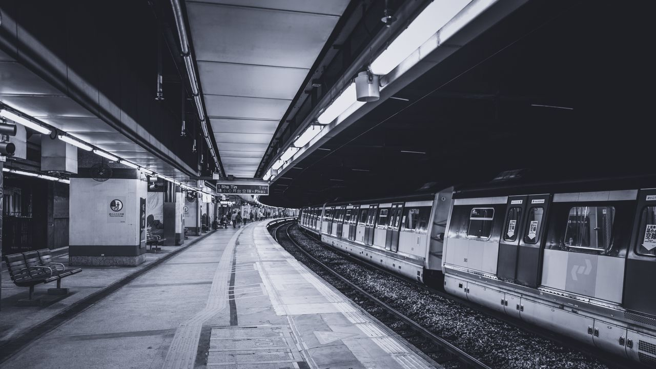 transportation, rail transportation, public transportation, railroad station platform, railroad track, train - vehicle, railroad station, indoors, no people, day