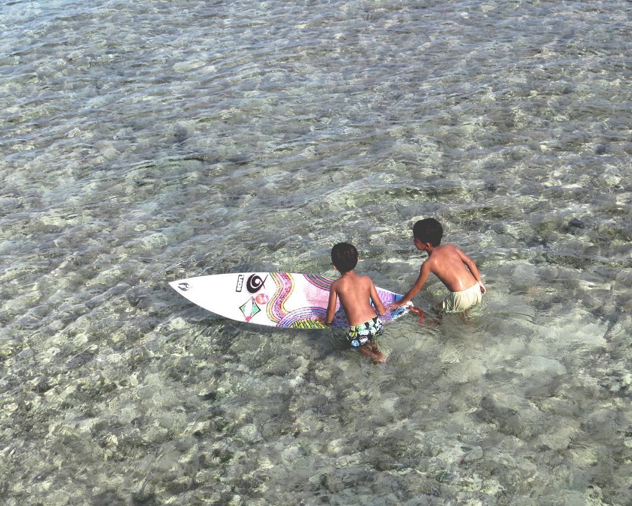 Surf's Up Child Surfers Surfing Life Surfers Children Sea Boys Top View Looking Down Watersports Tropical Climate Water Recreation Siargao Island Shallow Water