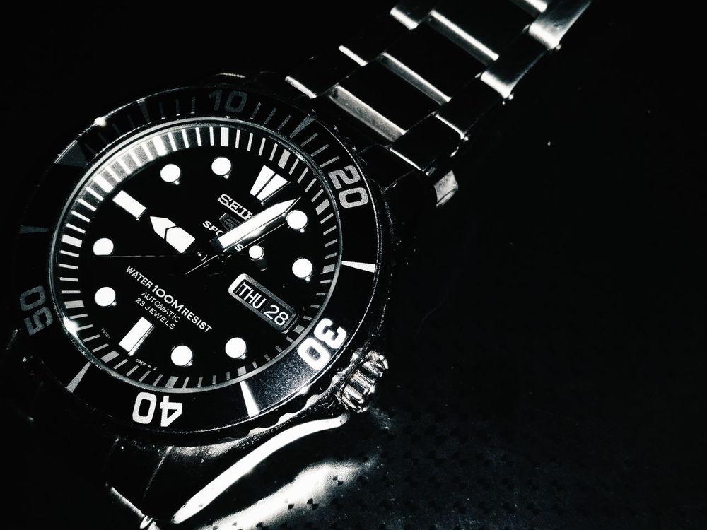 Seiko 5 Sports Watches⌚️ Wristwatch Black Background Vintage Watch Seiko5 Seikowatch Seiko Black Color EyeEmNewHere