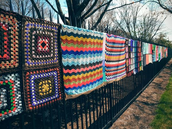 Blankets Hanging Fence Colorful