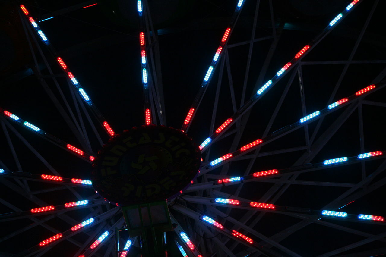 Abstract Backgrounds Capital Lakefair 2016 Carnival Carnival Lights Carnival Lights Multi Colored Carnival Rides Decoration Design Electric Light Fair Ferris Wheel Full Frame Geometric Shape Glowing Illuminated Light Lighting Equipment Low Angle View Modern Multi Colored Night No People Olympia Red