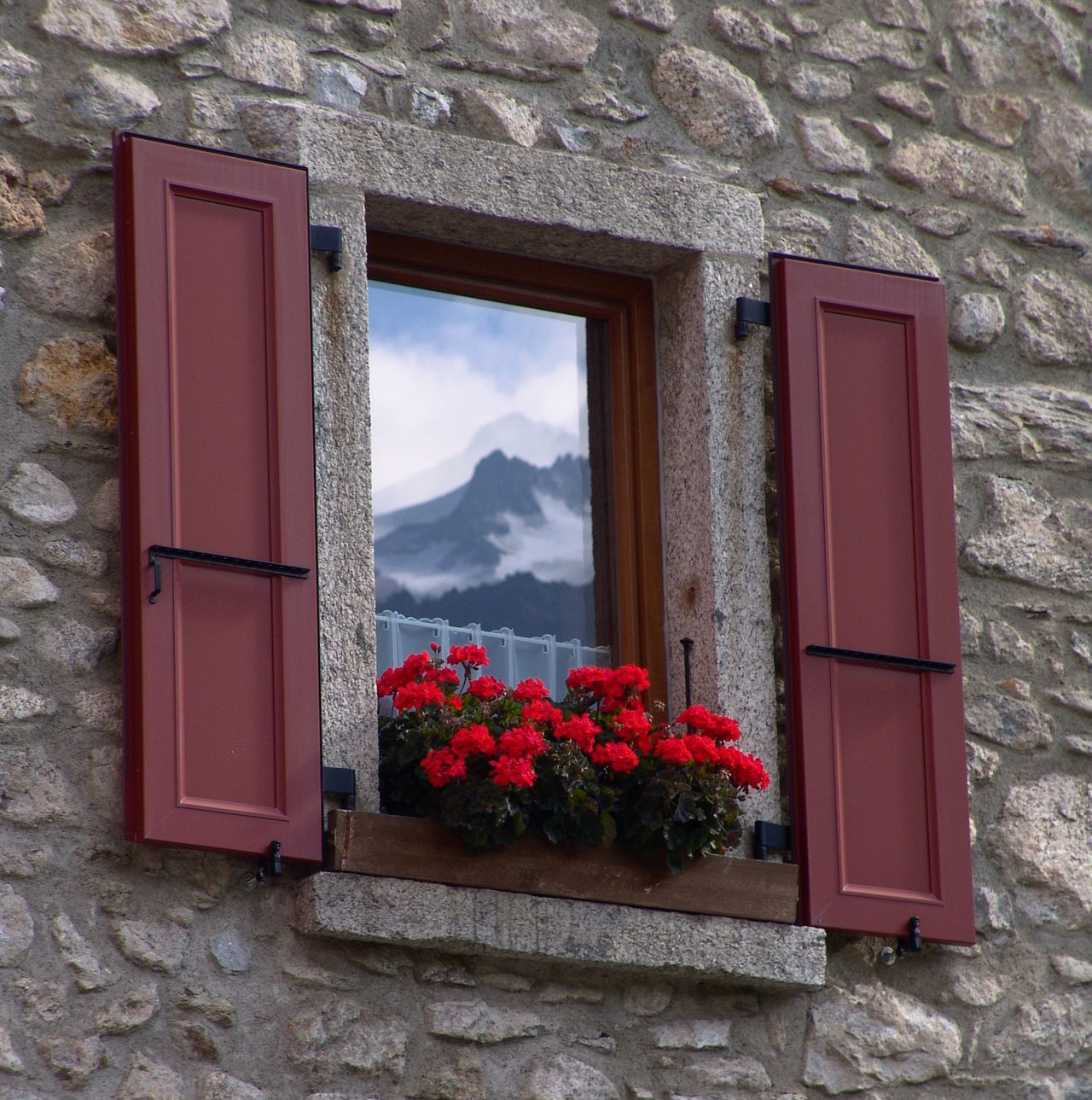 Cloud - Sky Clouds Clouds And Sky Flower Hill Hills Mirror Mirror Picture Mirror Reflection Mirrored Mountain Red Reflection Sky Stone Wall Window Window Frame Windows And Doors Window Art Window Reflections