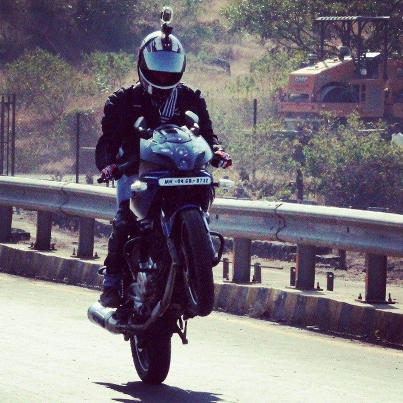 Live High... Touch The Sky.. ;) :P Pulsar220 Wheelie Lonavala Bike_riders_mumbai Anniversary Ride Bikerbuddies Riding Enjoying Memorable