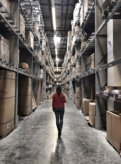 Warehouse Warehouse Stockroom IKEA Woman Walking Backwards