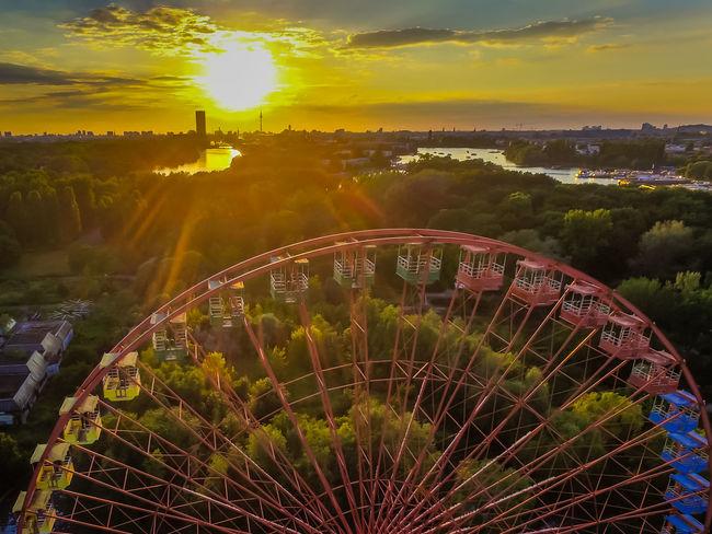 Ferris Wheel Spreepark Spreepark Spreepark Plänterwald Abandoned Places Landscape Sunset Moody Sky berlin Airteam Gorgeous Drone  DRONE Www.airteam.camera Dronephotography