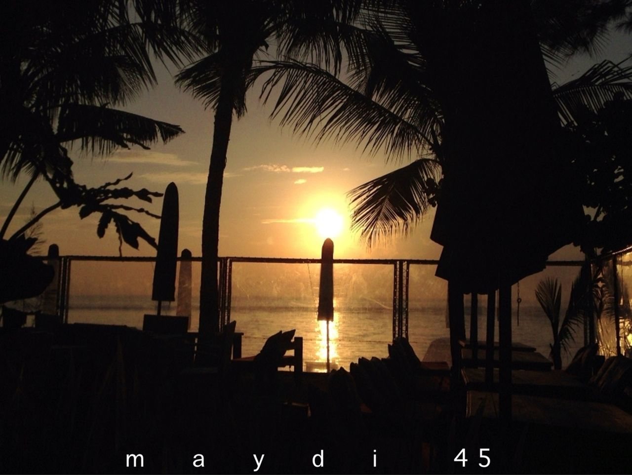 sunset, palm tree, sea, silhouette, sun, beach, tree, scenics, beauty in nature, water, nature, sky, horizon over water, vacations, tranquility, tourist resort, tree trunk, outdoors, no people, swimming pool