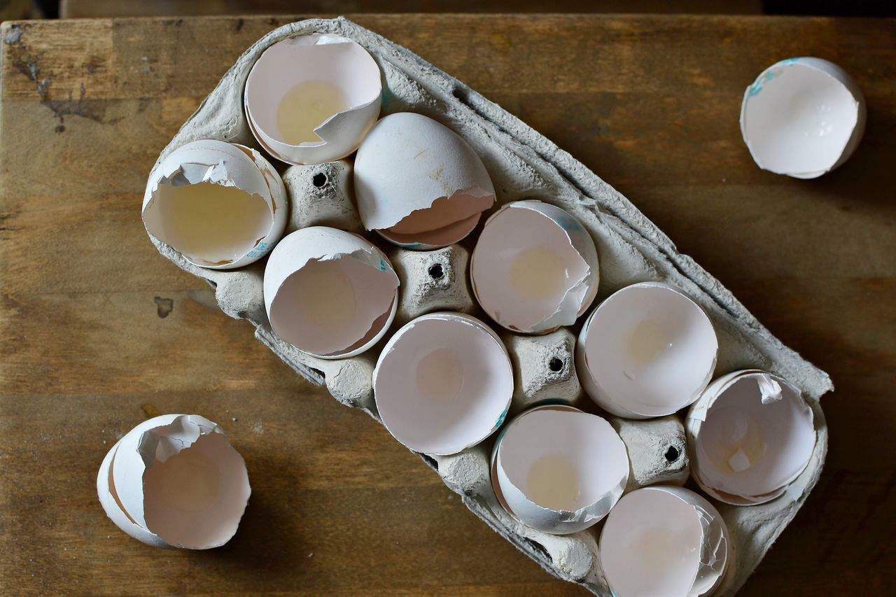 A carton box of empty egg shells Above Carton Box Close-up Cooking Egg Shells Eggs Empty Food And Drink Food Ingredients Freshness Full Of High Angle View In The Kitchen Indoors  No People Wooden Background BYOPaper!