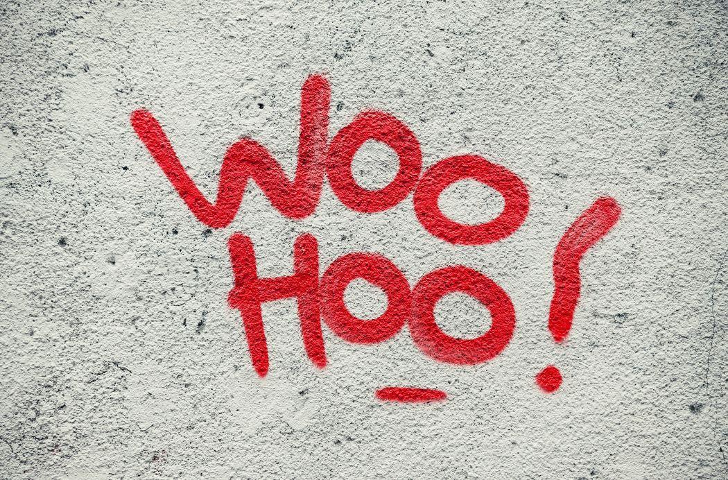 Woohoooo!! Woo Hoo! Red Wall Words Graffiti Street Art Exclamation Joyful Joy Urban City Painting Spray Paint Outdoors