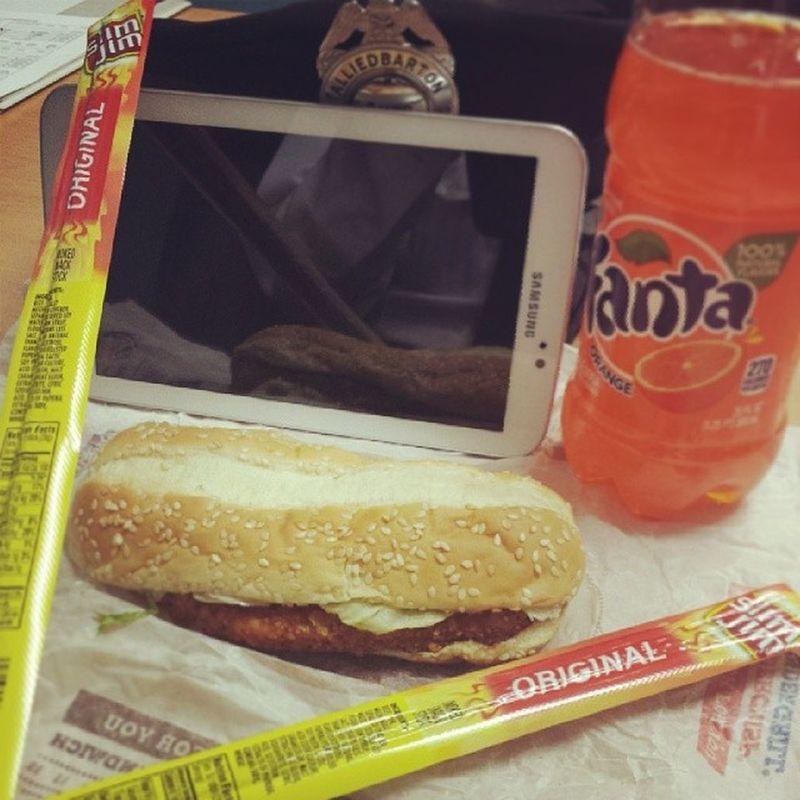 Breakfast at work...Slimjim Burgerking Orangesoda Tablet beef security selfietime fanta
