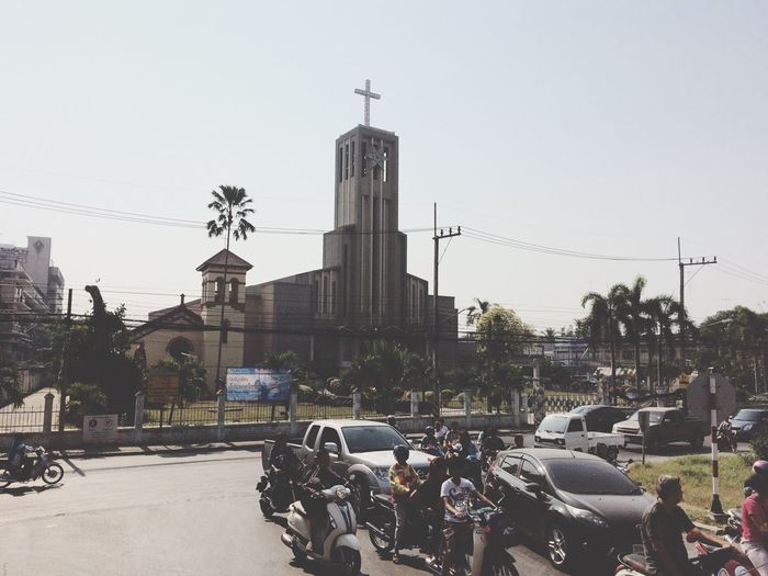 Church Transportation Mode Of Transport Land Vehicle Building Exterior Built Structure Car Thailand Architecture City Outdoors Clear Sky Stationary Day Real People Sky Men Women Tree Large Group Of People Road People