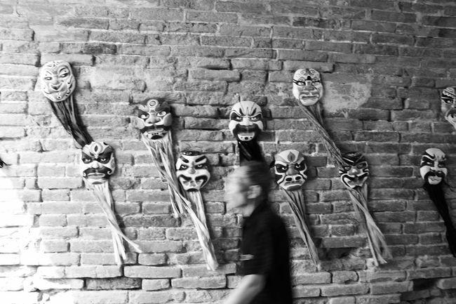 Old Man Opera Masks Brick Wall Day Men Outdoors Adult People