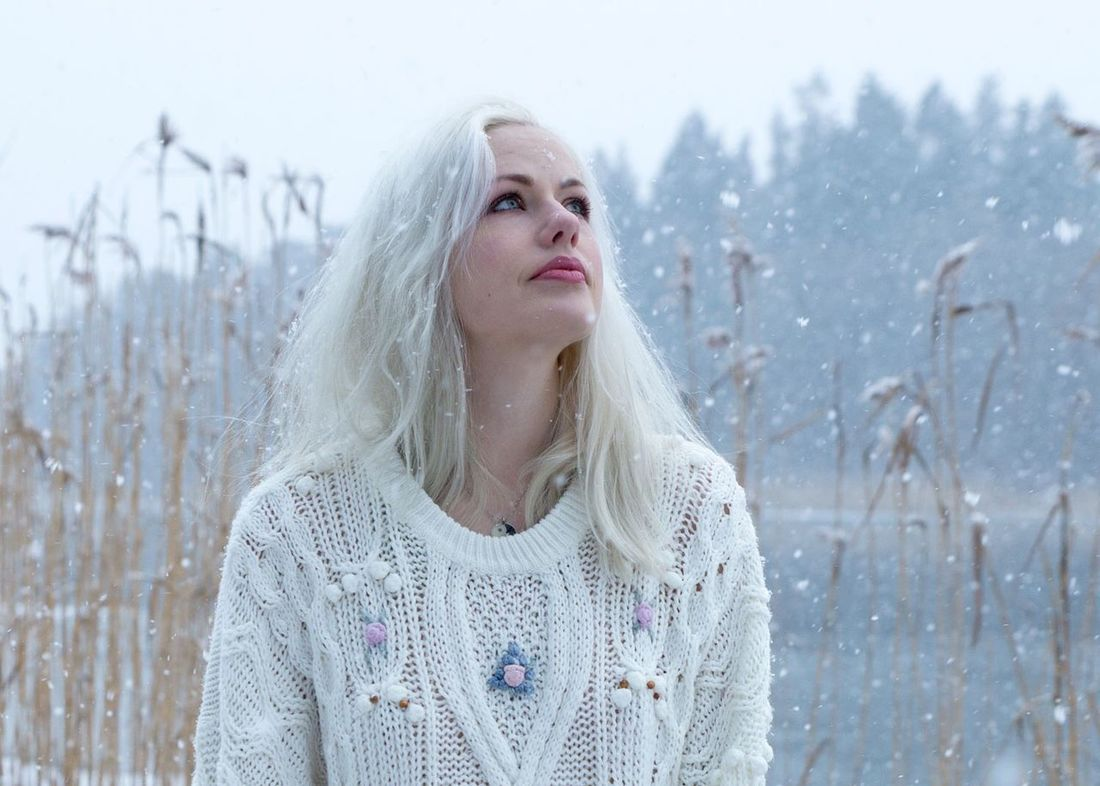 Watching snowflakes. Snow Snowfall Snowflakes Winter Portrait Portrait Of A Woman Portrait Photography Nikond600 Tamron2470 Sweden