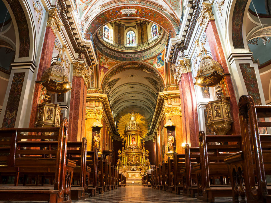 Inside of Cathedral in Salta (Argentina) America Architecture Argentina Attraction Belfry Cathedral Catholic Church Colonial Historic Indoors  Inside Internal Landmark Low Angle View Molding No People Religion Salta  Senor Y La Virgen Del Milagro Sightseeing Stucco Tourism Touristic Virgen